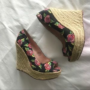Betsey Johnson Roses on Canvas and Rope Wedges
